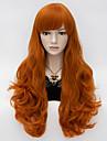 loita chaleur longue perruque ondulee cosplay cheveux resister partie synthetique orange cheveux