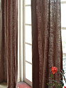 Two Panels Linen Cotton Solid Panel Bedroom Curtains Drapes Brown
