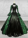 Steampunk®Gothic Lady Long Sleeves Green and Black Printing Satin Dress