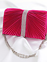 Women Satin Minaudiere Clutch / Evening Bag - Pink / Gold / Red / Silver