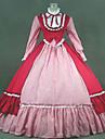 Une Piece/Robes Gothique Steampunk® / Victorien Cosplay Vetements de Lolita Rouge Mosaique / Vintage Manches longues Long Robe Pour Femme