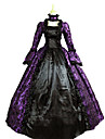 Une Piece/Robes Gothique Steampunk® Victorien Cosplay Vetrements Lolita Violet Retro Manches longues Long Robe Collier Pour Satin Dentelle