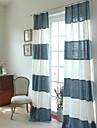 deux panneaux mosaique mediterraneenne moderne bande rideaux bleu-blanc coton lin melange