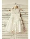 a-line genunchi lungime rochie fata rochie - tul dantelă fără buzunar gât luci cu dantelă de thstylee