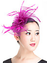 Lady Polyester Bow Flowers  Feather Fascinators Wedding Hat Fuchsia /Black/Beige