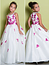 A-line Floor-length Flower Girl Dress - Organza Sleeveless Jewel with Appliques / Beading