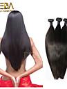 3pcs / lot brasilianska jungfru hår siden rakt mänskliga hårförlängningar naturligt svart 8 \'\' - 30 \'\' hår väver