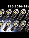 10 X Canbus Error Free White T10 5-SMD 5050 Interior LED Light bulbs W5W 194 168