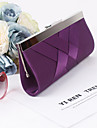 Women Silk / Metal Minaudiere Clutch / Evening Bag - Beige / Purple / Red / Black / Fuchsia