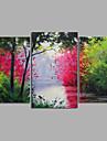 HANDMÅLAD Landskap / Blommig/Botanisk / Abstrakta landskapModerna Tre paneler Kanvas Hang målad oljemålning For Hem-dekoration