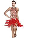 Latin Dance Dresses Women\'s Performance Cotton / Spandex Tassel(s) 1 Piece Black / Red Latin Dance Spring, Fall, Winter, Summer Sleeveless