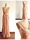 Formal Evening Dress - Champagne Sheath/Column V-neck Floor-length Sequined