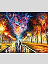 oljemålningar moderna landskapet regnig gata canvas material med trä bår redo att hänga storlek: 60 * 90 cm.