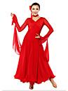 Vestidos(Negro / Rojo,Gasa / Fibra de Leche,Danza Moderna / Desempeno / Sala de Baile / Baile de Salon) -Danza Moderna / Desempeno / Sala