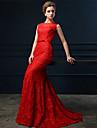 Serata formale Vestito A sirena Con decorazione gioiello Strascico a terra Di pizzo con Fiocco (fiocchi) / Con strass