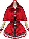 Une Piece/Robes Tenus de Servante Lolita Classique/Traditionnelle Lolita Cosplay Vetrements Lolita Noir Rouge Mosaique Manches courtes