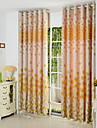 deux panneaux jaunes floraux botanique coton poly rideaux du panneau de melange opaques