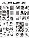 Blomma - Finger / Tå - Andra Dekorationer - av Metall - 10pcs nail plate - styck 6.2cmX6.2cm each piece - cm