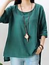 Femei Rotund Bluză Casul/Zilnic Simplu(ă),Mată Manșon Lung Toamnă-Roșu / Alb / Verde Mediu