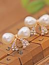 Cercei Stud Cătușe pentru urechi bijuterii de lux Perle Cristal Imitație de Perle Placat Auriu imitație de diamantBowknot Shape Cross