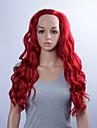 mode syntetiska peruker spets front peruker 32 tums lös våg röd värmebeständigt peruker kvinnor