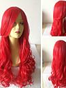 cosplay vacker röd sythetic våg peruker hårförlängningar flickor härliga