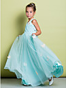 Lanting Bride A-line Floor-length Flower Girl Dress - Lace Sleeveless V-neck with Bow(s) / Lace / Criss Cross