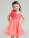 A-line Knee-length Flower Girl Dress - Organza / Tulle Sleeveless Straps with