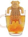 silikon te kaffe infusions söt mops rånar in tekanna växtbaserade krydda sil filter (slumpvis färg)
