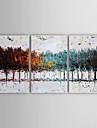 oljemålning modern abstrakt uppsättning av tre handen målade med sträckt inramade