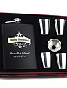 Personalized Stainless Steel Black Hip Flasks 8-oz Flask Set Thanks
