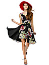 TS Couture® Cocktail Party Dress - Print A-line V-neck Knee-length Chiffon