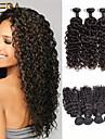 3pcs / lot malaysian virgin hår vatten wave mänskliga hårförlängningar naturligt svart curl hår 8 \'\' - 30 \'\' hår väver