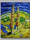 redo att hänga sträckte handmålade oljemålning duk abstrakt van Gogh repro väg med crypress en panel