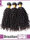 """3st / lot 12 """"-30"""" brasilianska jungfru hår naturligt svarta Jerry curl mänskliga hårförlängningar hår väver"""