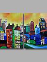 HANDMÅLAD Abstrakt / LandskapModerna Två paneler Kanvas Hang målad oljemålning For Hem-dekoration