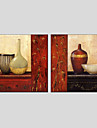 HANDMÅLAD StillebenModerna / Europeisk Stil Två paneler Kanvas Hang målad oljemålning For Hem-dekoration