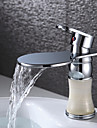 Warpeu® Chrome Finish Brass Waterfall Bathroom Sink Basin Faucet