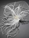 Dame Fjer / Tyl / Imiteret Perle Medaljon Bryllup / Speciel Lejlighed Fuglebur Slør Bryllup / Speciel Lejlighed 1 Stykke