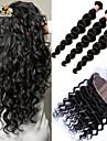 siden bas frontal med buntar peruanska hår väva lösa våg 4st 6a peruanska 13x4 spets frontal stängning med buntar
