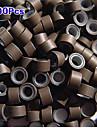 5mm silikon fodrade microringar länkar crimp pärlor i / u / lägenheten spets hårförlängningar 200pcs brun