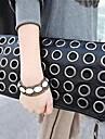 Women PU Fold over Clutch Clutch - Black