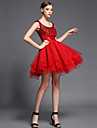 Coquetel Vestido De Baile Decote em U Curto / Mini Tule / Charmeuse / Paetes com Micangas / Lantejoulas