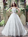 A-line Wedding Dress Court Train Sweetheart Lace with Bow / Criss-Cross / Crystal / Lace / Pattern / Ruffle / Beading