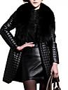 Dame Palton Piele Plus Size / Ieșire Vintage / Punk & Gotic,Mată Manșon Lung Iarnă În V-Negru Mediu Blană Artificială / PU