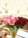Gren Polyester Roser Bordsblomma Konstgjorda blommor