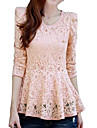 Women\'s Lace Pink/White/Black Blouse, U Neck Long Sleeve with Peplum