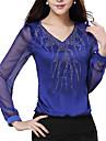 Women\'s Casual Lace Micro Elastic Long Sleeve Regular Blouse