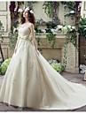 Linha A Vestido de Noiva Cauda Corte Coracao Crepe / Georgette com Micanga / Cristais / Bordado / Faixa / Fita