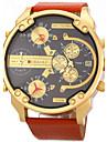 JUBAOLI Bărbați Ceas Militar Ceas de Mână Quartz Calendar Zone Duale de Timp Piele Bandă Luxos Negru Alb OrangePortocaliu Negru/Alb Negru